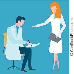 reunião, médico, trabalhadores, caráteres, doc, enfermeira