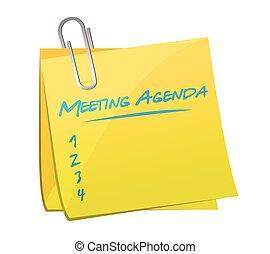 reunião, memorando, desenho, agenda, ilustração