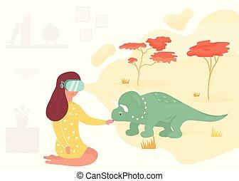 reunião, menina, dinosaur., realidade virtual