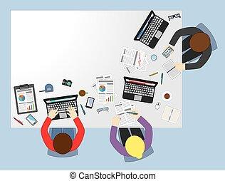 reunião negócio, apartamento, ilustração, conceito