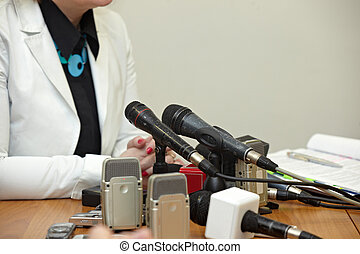 reunião negócio, conferência, jornalismo, microfones