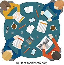 reunião negócio, em, vista superior