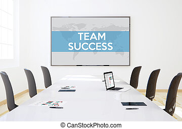 reunião negócio, escritório, sucesso, equipe