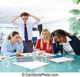 reunião negócio, expressão triste, negativo, gesto