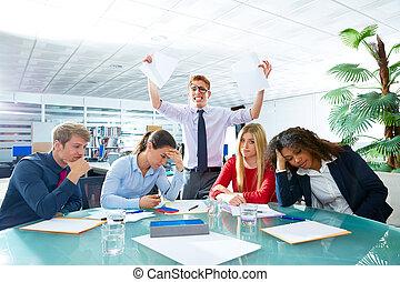 reunião negócio, negativo, expressão triste, gesto