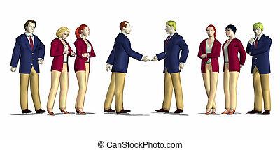 reunião, negócio, render