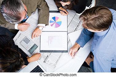 reunião, negócio, vista