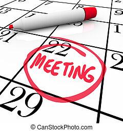 reunião, palavra, circundado, ligado, calendário, vermelho, marcador