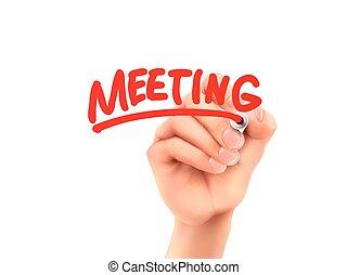 reunião, palavra, escrito, por, mão