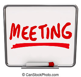 reunião, palavra, seco apagar placa, discussão, meet-up
