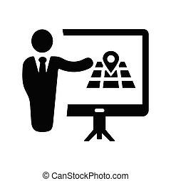 reunião, pretas, apresentação, conferência negócio, localização, treinamento, ícone