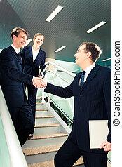 reunião, sócio negócio