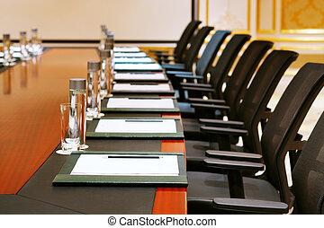 reunião, tiro, sala, detalhe
