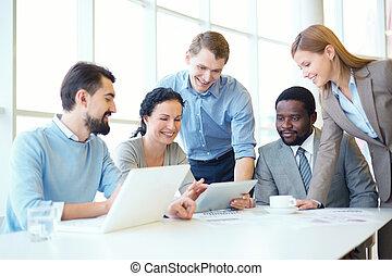 reunião, trabalhando