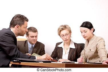 reunión, 4 personas