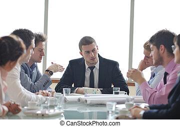 reunión, arquitecto, equipo negocio