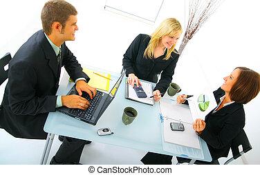 reunión, businessteam, feliz