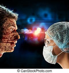 reunión, cirujano, paciente, miradas