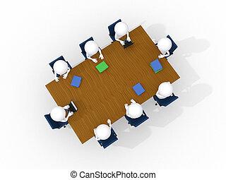 reunión, empresa / negocio, aislado, hombre, 3d, blanco