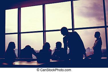 reunión, en, oficina