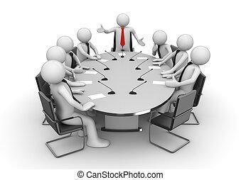 reunión, en, sala de conferencias