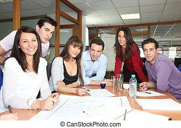 reunión equipo, en, un, oficina