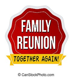 reunión familiar, etiqueta, o, pegatina