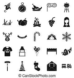 reunión familiar, iconos, conjunto, simple, estilo