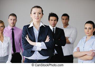 reunión, grupo, joven, empresarios
