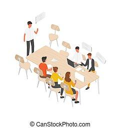 reunión, hablar, cada, grupo, equipo, trabajadores, vector, ...