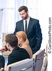 reunión, líder, empresa / negocio