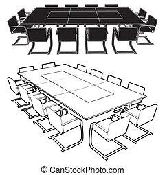 reunión, mesa de conferencia