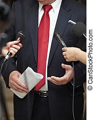 reunión negocio, conferencia, periodismo, micrófonos