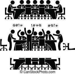 reunión negocio, discusión, icono