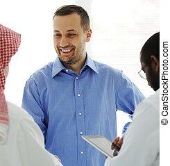 reunión negocio, en, medio oriente