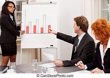 reunión negocio, en, oficina, con, grupo, equipo