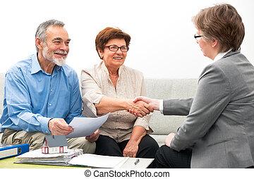 reunión, pareja, financiero, consejero