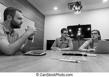 reunión, poniendo común, diario, equipo