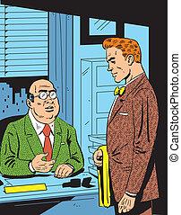 reunión, retro, oficina