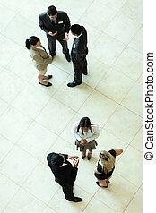 reunión, sobre, empresa / negocio, vista