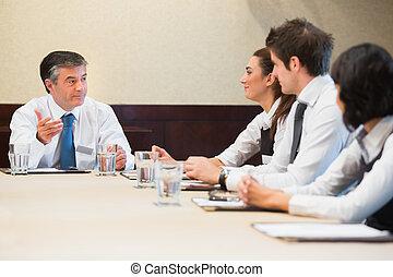 reunión, teniendo, empresarios