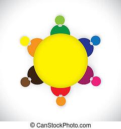 reuniões, graphic., junto, tabela, togther, predios, pessoal, ou, team-, também, rede, coloridos, companhia, equipe, ilustração, membros, representa, crianças, este, empregados, tocando, vetorial, social, redondo