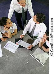 reunido, equipo, calendario, empresa / negocio, alrededor