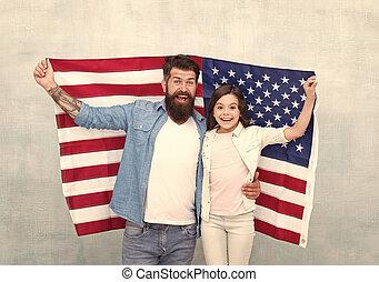 reunite, relax., hija, family., padre, holiday., bandera, ...