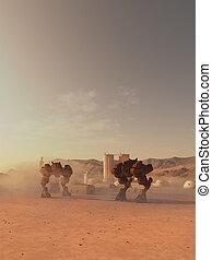 reus, slag, robots, het bewaken, een, marsmannetje, kolonie