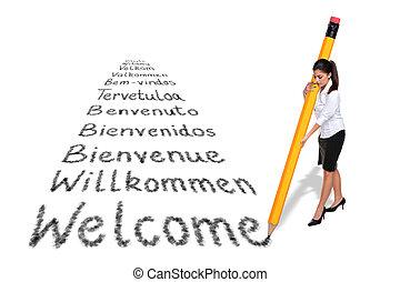 reus, woord, businesswoman, welkom, vrijstaand, schrijvende , talen, achtergrond., gevarieerd, witte , potlood, europeaan