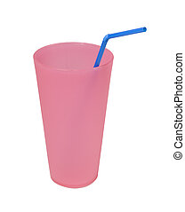 reusable pink cup with blue straw