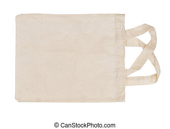 Reusable, recyclable fabric shopping tote bag, isolated on white background. For environmentally friendly, green consumers.