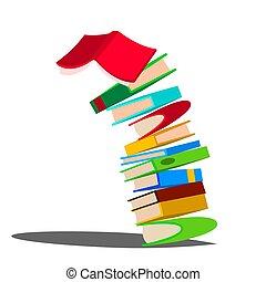reusachtig, books., vrijstaand, illustratie, stapel, dons, boeken menigte, vector., het vallen, opleiding, spotprent, design.