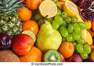 reusachtig, groep, van, verse vruchten